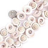 Sweet & Happy Girl'S Store 17mm Whelk Shape Gemstone White Sea Shell Beads Strand 15 Inch Jewellery Making Beads