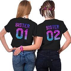 Idea Regalo - Best Friend Shirt Cotone Coppia T-Shirt Stampa Sister 01 02 Minica Corta Magliette Migliori Amiche Girocollo Colorato per 2 Donne Estate(Nero+Nero,01-S+02-M)