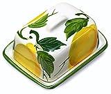 Lashuma handgemachte kleine Butterdose aus bemalter italienischer Keramik im Zitronendesign, Butterglocke Größe: ca. 12 x 9 cm