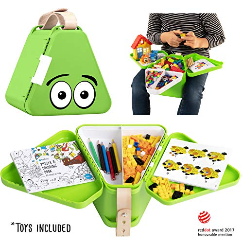 Play w Included Bricks Kids Travel Toy Box Teebee Boys /& Girls Snack Plane /& Stroller Storage Suitcase for Baby Tools Puzzle Book /& Colouring Pens Gray Activity Tray Table for Car Seat