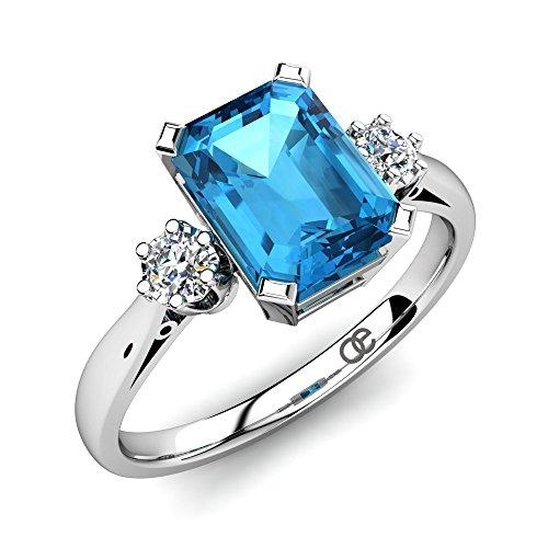 Moncoeur Verlobungsring Passion Blau Topas + Verlobungsringe 925 Sterling Silber Bluem Topas + 2 Swarovski + Silberring mit Stein + Damen Geschenk Ring +...
