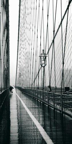 Art Prints 100x50 cm: Rachel Royse - Brooklyn Bridge On Rainy Day - 100x50cm - Brooklyn Bridge, Suspension Bridge