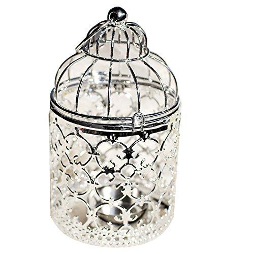 Outflower Vintage Birdcage Teelichthalter mit Papier Laternen Leuchterkerzen, Retro Wand-Kerzenhalter ROMANTIC-Kern, Dekoration für Hochzeit/Verlobung/Esszimmer, Legierung, silber, 8*8*14 cm