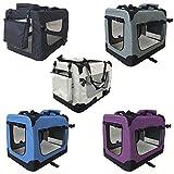 Petigi Faltbare Transportbox Hund Faltbox Transporttasche Hundetransportbox Katze Auto 7 Größen 5 Farben, Farbe:Schwarz, Größe:XXL (90 x 60 x 65 cm)