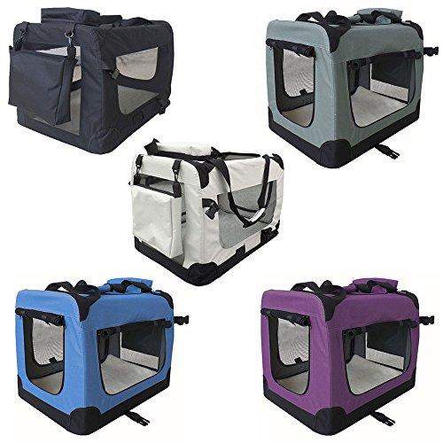 Petigi Faltbare Transportbox Hund Faltbox Transporttasche Hundetransportbox Katze Auto 7 Größen 5 Farben, Farbe:Schwarz, Größe:XL (80 x 55 x 60 cm)