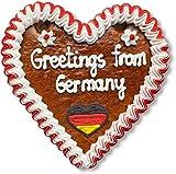 Lebkuchenherz 16cm mit Spruch - Greetings from Germany | Lebkuchen Herz & nette Grüße verschicken | International Grüße aus Deutschland versenden | Lebkuchenherzen bestellen von LEBKUCHEN WELT