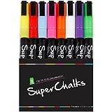 8 x SuperChalks Flüssigkreide-Marker in verschiedenen Farben - 3mm Präzisionsspitze - Neues Design mit dünner Spitze - Deckende Farbkraft
