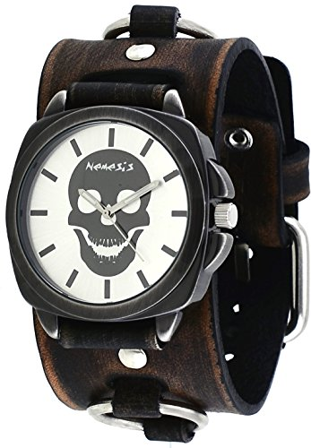 Nemesis #FRBB935S Men's Gun Metal Skull Face Dial Wide Leather Cuff Band Watch