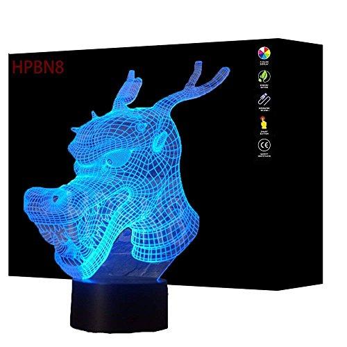 3D Dragón ilusión Optica Lámpara Luz Nocturna 7 Colores Cambiantes Touch USB de Suministro de Energía Juguetes Decoración Navidad Cumpleaños Regalo
