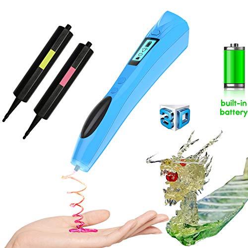 3D Stift, Lauva UV Photohärtender 3D Stereoscopic Printing Pen mit eingebautem Akku und austauschbarer Tinte für Modellieren, Basteln, Modellieren und Ausbildung (Blau)