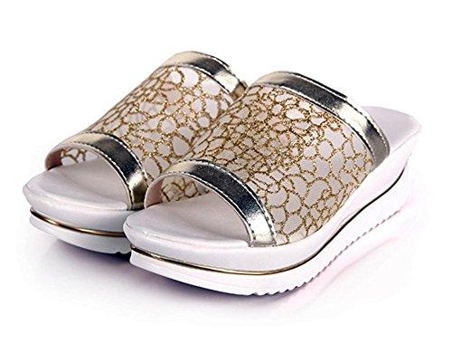 Xiaji Song-Kuchen dicke Kruste Hang mit Sandalen und Pantoffeln Wort ziehen atmungsaktive Mesh-Spitze hochhackigen Sandalen Gold