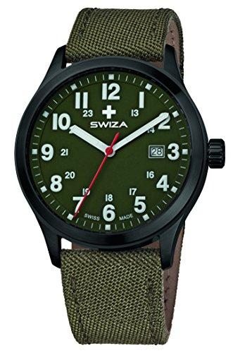 SWIZA Kretos Gent Quarzlaufwerk, Edelstahl-Gehäuse, 24h-Anzeige, Stoffarmband, Oliv Luxus Uhr Made in Swiss