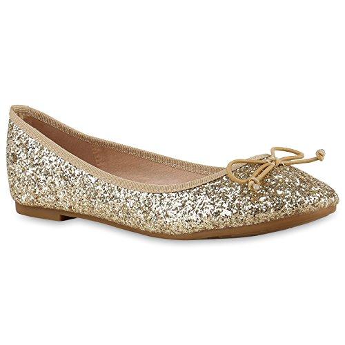 Klassische Damen Ballerinas Lederoptik Bequeme Schuhe Freizeit Übergrössen Glitzer Lack Party Schuhe Zweitschuhe Hochzeit Abiball Gold Glitzer