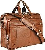 Thames Faux Leather 15.6 Laptop Messenger Bag/Sling Bag/Laptop Briefcase (Tan)