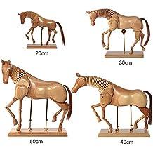 Artina Monet - Maniquí modelo articulable de caballo de madera maciza - Adaptable para artistas - 50 cm = 19.7 pulgadas