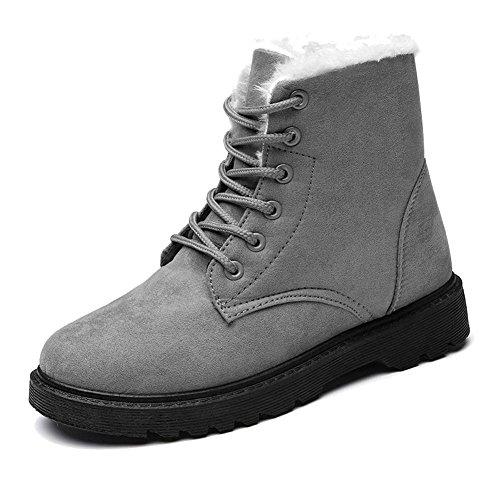 Boots Peluche Heel Calzature Short Scamosciata Martin gray Pelle In Scarpe Casual Cotone Più Scarpe Donne Calda Piana In qRHEwnC