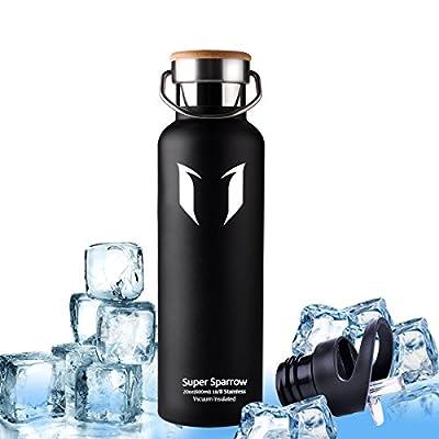 Super Sparrow Trinkflasche Edelstahl Wasserflasche - 500ml & 750ml & 1000ml - Isolier Flasche mit 100%-Zufriedenheitsgarantie | Perfekte Thermosflasche für das Laufen, Fitness, Yoga, Im Freien und Camping, Auto oder Unterwegs | Frei von BPA | Ideal als Wa