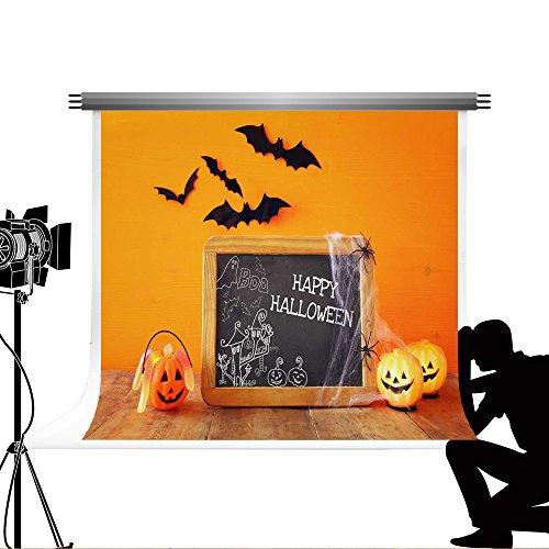 Kate Happy Halloween Tafel Hintergrund für die Fotografie Tragbare Kürbis photography-studio-backdrop Fledermäuse Requisiten Holz Boden Hintergrund fototermin 7 x 5ft/2,2 x 1,5 m