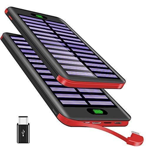 Powerbank 16000mAh, VNOOKY Externer Akku Battery Pack mit 3 Input und Integriertem 2.4A Micro Kabel Tragbares Solar Ladegerät Handy für iPhone 8/8 Plus/7/6/SE, iPad Pro,iPad Air, Samsung S8,S7,S6