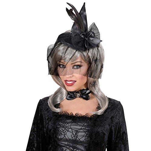 er Hexenhut Zauberin Fascinator Spitzhut Schwarzer Feder Minihut Halloween Kostüm Zubehör (Hexe Hüte Für Erwachsene)