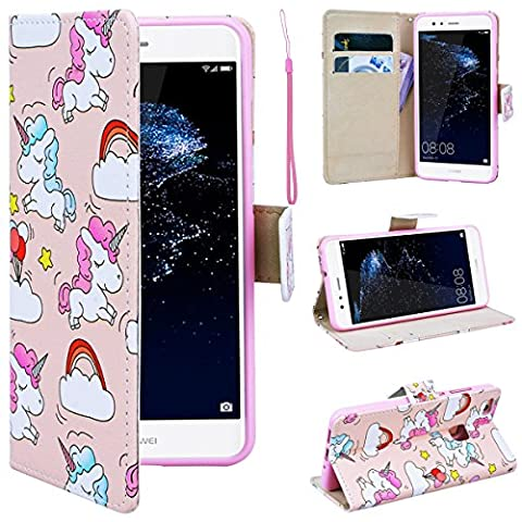 SmartLegend Huawei P10 Lite Wallet Case, P10 Lite Leather Case, Folio Flip Case Cover for Huawei P10 Lite with Strap, Cute Cartoon Unicorns Book Style PU Full Body Protection with [Kickstand] Stand Function, Card Slots Holster Purse, Soft TPU Silicone Inner Back Cover SmartPhone Protective Skin Cover for Huawei P10 Lite - Unicorn