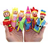 Kuhu Creations® Supreme 6 Pcs King Queen Royal Family Wooden Finger Puppets Baby Story Telling Toys.