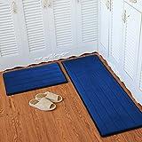 """Eazyhurry Flannel Solid Rectangle Floor Mat Entry Mat Doormat Home Decor Carpet Indoor Outdoor Area Rug Kitchen Floor Runner Dark Blue Stripe 19.6"""" X 31.4"""""""