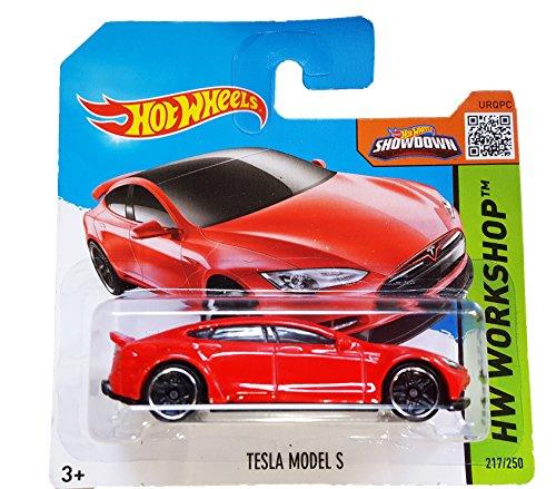 Hot Wheels Short Card HW Workshop Tesla Model S Red #217/250
