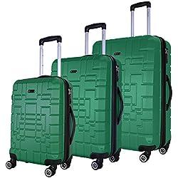 SHAIK Serie XANO Maletas De Viaje Set De 3 Piezas - TSA CASTILLO 45/78/124 Capacidad De Litros Cubierta Dura Y Flexible Equipaje De Mano Con Ruedas 360⁰ De Rotación (Verde, 3 Piezas)