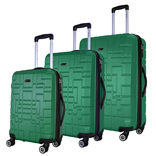 Shaik Serie XANO HKG Design Hartschalen Trolley, Koffer, Reisekoffer, in 3 Größen M/L/XL/Set 50/80/120 Liter, 4 Doppelrollen, TSA Schloss (Koffer Set, Grün) (Tsa Bag Travel)