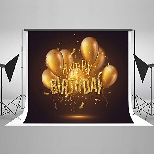 KateHome PHOTOSTUDIOS 2,2x1,5m Happy Birthday Kulisse Glitter Gold Ballons Fotografie Kulisse Microfiber Geburtstagsfeier Foto Hintergrund