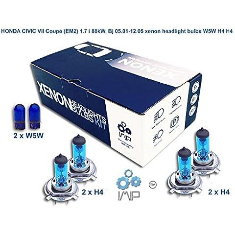 honda civic vii coupe em2 1.7 i 88kw, bj 05.01-12.05 lampadine allo xenon w5w h4 h4
