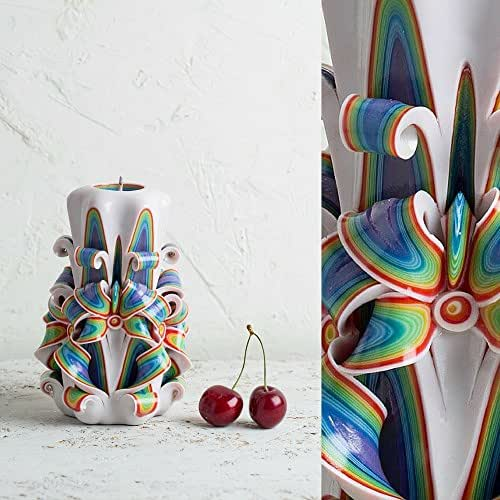 Stravagante ed Esclusiva - Candela Intagliata A Mano - in Stile Arcobaleno Ornamentale - Centrino Ornamentale da Nozze - EveCandles
