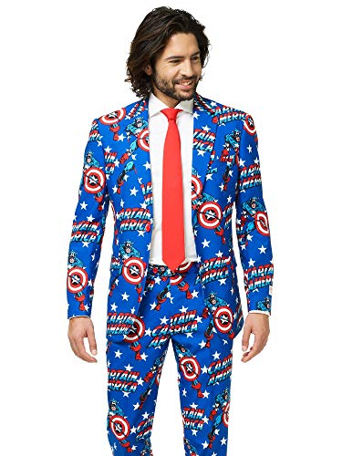 (Opposuits Official Marvel Comics Hero Suits - Infinity War Avengers Costume Comes with Pants, Jacket and Tie, Captain America,54)
