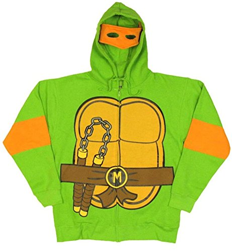 Kostüme Turtles Erwachsene Ninja (Teenage Mutant Ninja Turtles Michelangelo Kostüm Erwachsene Hooded Sweatshirt)