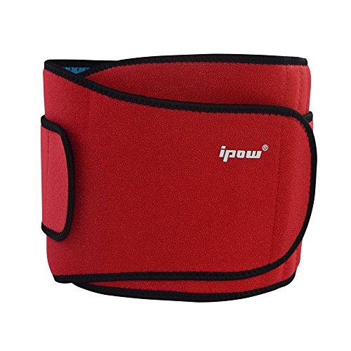 Ipow Profi Fitnessgürtel Sport Rückenbandage Rückenstütze - Hochwertig Atmungsaktiv mit Doppelzug zur elastischen Kompression, Bauchweggürtel für Damen und Herren (Rot)