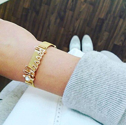 URBANHELDEN - Mesharmband aus Edelstahl - Mesh Charm Armband - Charms austauschbar - Größen verstellbar - Damenarmband Edelstahlarmband Charmband (Silber, Rosegold o. Gold)