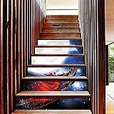 YYFW Babbo Natale Scenery 6 pezzi decorazione della casa autoadesiva impermeabile adesivi murali scala Portico adesivi decorazione della casa