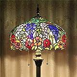 HDO 16-Zoll Blooming Purple verlässt Blumen europäischen pastoralen Stil elegante Luxus kreative handgemachte Glasmalerei Stehlampe