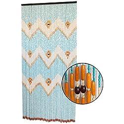 Cortina para Puerta de Bambú Natural, en Color Azul, Naranja y Beige. Sostenible, exenta de plástico 90cm X 200cm - Hogar y Más
