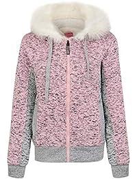 North Play Womens Padded Borg Warm Fleece Lined Full Zip Up Hoodie Hooded Sweatshirt Jacket Coat