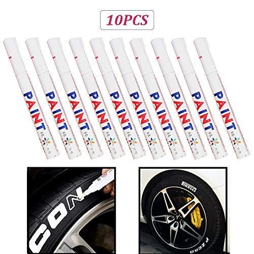 Preisvergleich Produktbild Reifen Permanent Paint Marker Pen Reifen White Surface Pen,  10Pcs Wasserdichte Reifen Paint Marker Pen für Auto,  Motorrad,  Fahrrad,  Fahrradfelgen