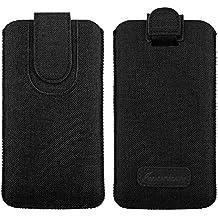 Emartbuy Scuro Grigio Qualità Textured Tessuto Custodia Case Cover Sleeve ( Size 5XL ) con Linguetta Adatta per Smartphone Elencati Sotto