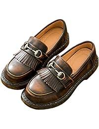 SXSHUN Mocasines Loafer para Niñas Zapatos de Cuero para Uniforme Colegio sin Cordones