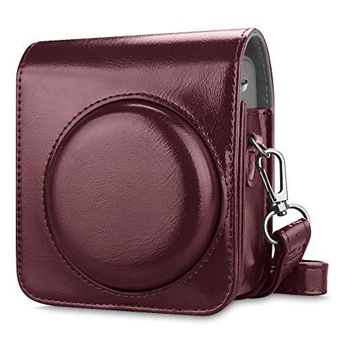 Fintie Tasche für Fujifilm Instax Mini 90 Neo Classic Sofortbildkamera - Premium Kunstleder Schutzhülle Reise Kameratasche Hülle Abdeckung mit Abnehmbaren Riemen, Helles Burgund