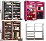 110cm Schuhregal XXL Schuhschrank Faltbar Schuh Stoff Regal Schuhständer pink