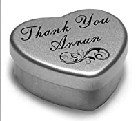 Perfect Way to Say Thank You Arran With A Mini Heart Tin Gift Present with Chocolates . Makes a beaufiful Gift or Present to show your Thanks, Fits Beautifully in the palm of your hand. Tin Measurements 45mmx45mmx20mm by Gift In Can Ltd