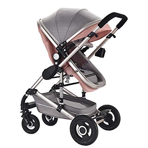 LAZ Kinderwagen, 3 In1 Travel System Bidirektionaler Kinderwagen Faltbarer leichter Kinderwagen von Geburt an komplett für Neugeborene, Kleinkinder, Babys und Mädchen (Color : Pink) (Für Mädchen Travel-system-kinderwagen)