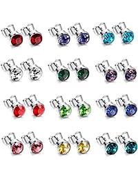 Besteel Jewellery 12Pairs Birthstone Stainless Steel Stud Earrings for Men Women Stud Earrings CZ Birthstone Round Stud 4-6mm