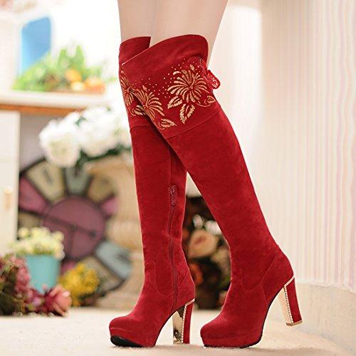 Haut Retour Chaussures 9 avec Talons Rouge Plateforme UH à Femmes de Bloc avec Rond Lace Fouffures CM Bout Bottines et zndxPXgwxF